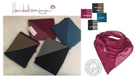 Heidekönigin Dreieckstuch zum Wenden Bio-Baumwolle Punkte oder Steifen schwarz, marineblau, brombeer oder pazifik