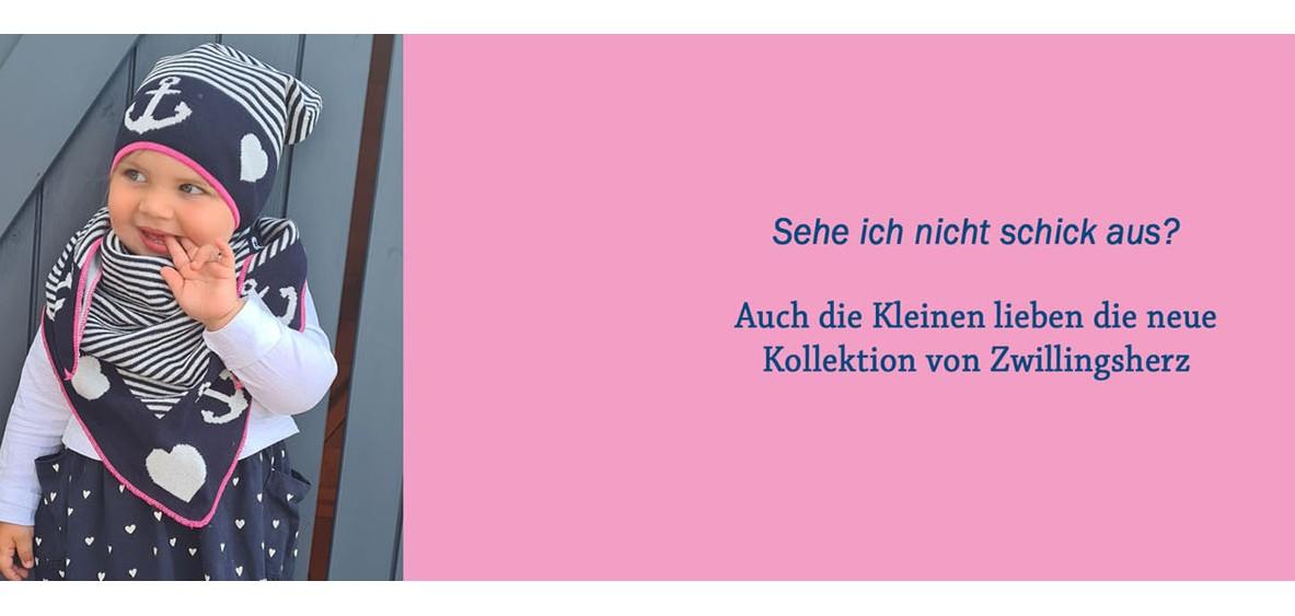Zwillingsherz Kids Set Dreieckstuch Mütze Bio Baumwolle pink corall rot Herzen Leo